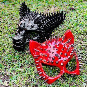 Steampunk Spike Wolf & Cat Couple Masks